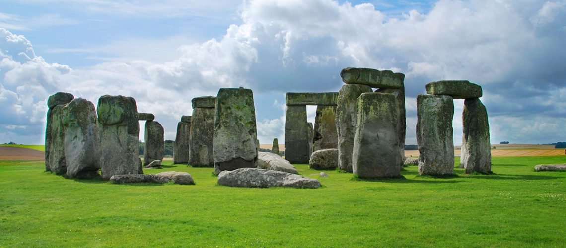 Stonehenge under a blue sky