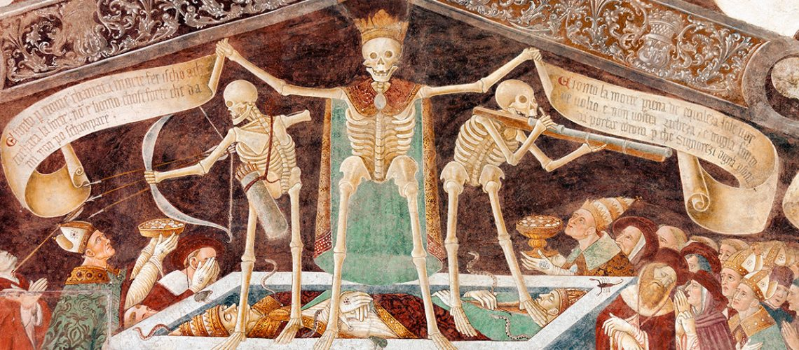 detail of the ancient fresco of the Danza Macabra (Dance of the Death)